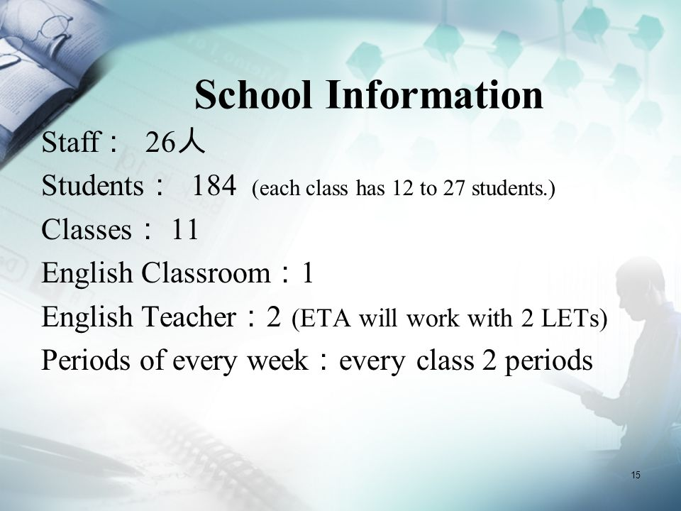 15 School Information Staff : 26 人 Students : 184 (each class has 12 to 27 students.) Classes : 11 English Classroom : 1 English Teacher : 2 (ETA will work with 2 LETs) Periods of every week : every class 2 periods