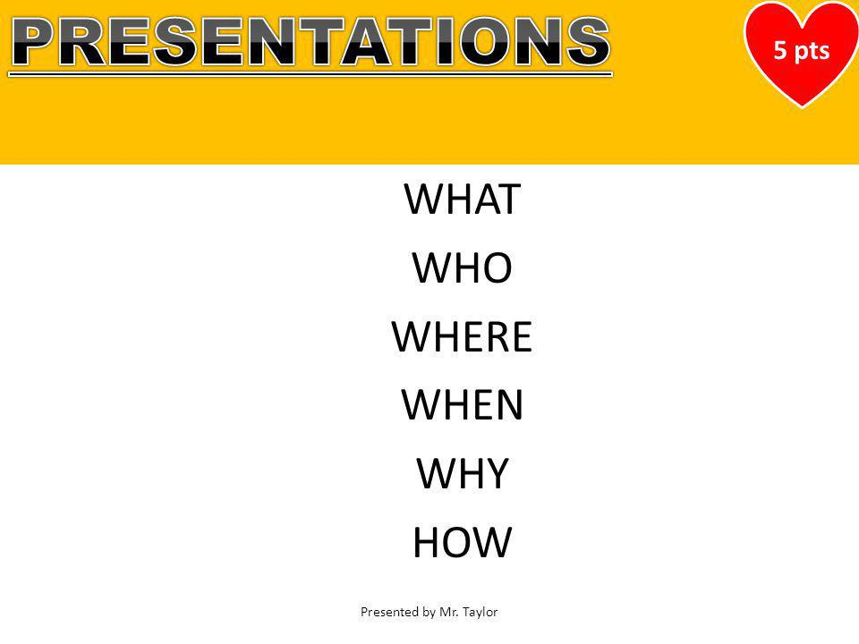 Buckle Up with Food Safety Lecture Series Presented by Mr. Taylor WHAT WHO WHERE WHEN WHY HOW 5 pts