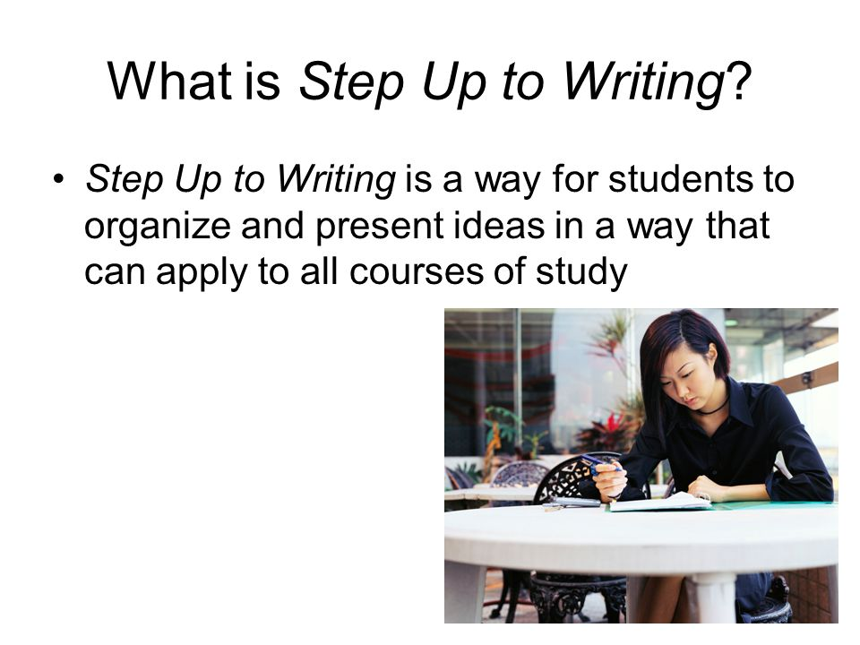 Step Up to Writing will… Help all students organize their thoughts in order to communicate clearly in writing Provide strategies to create linear logic in writing Aid you in presenting your ideas in a way that will make sense to the reader
