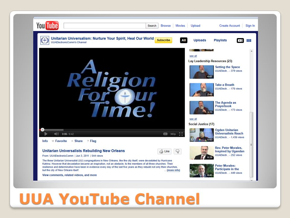 UUA YouTube Channel