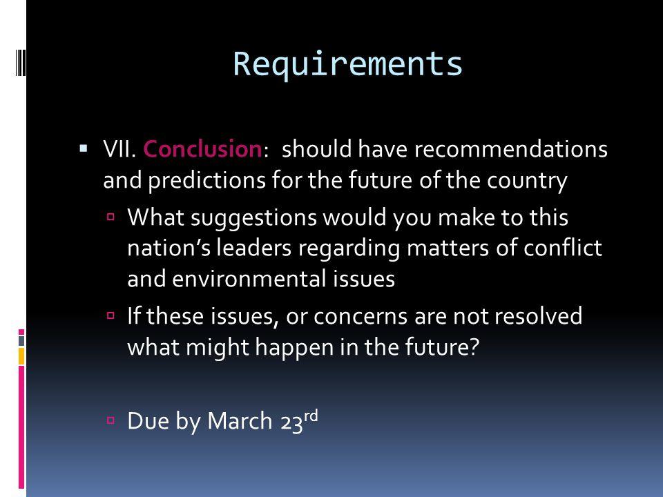 Requirements  VII.