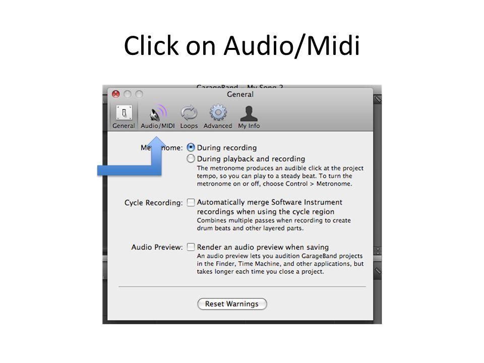 Click on Audio/Midi