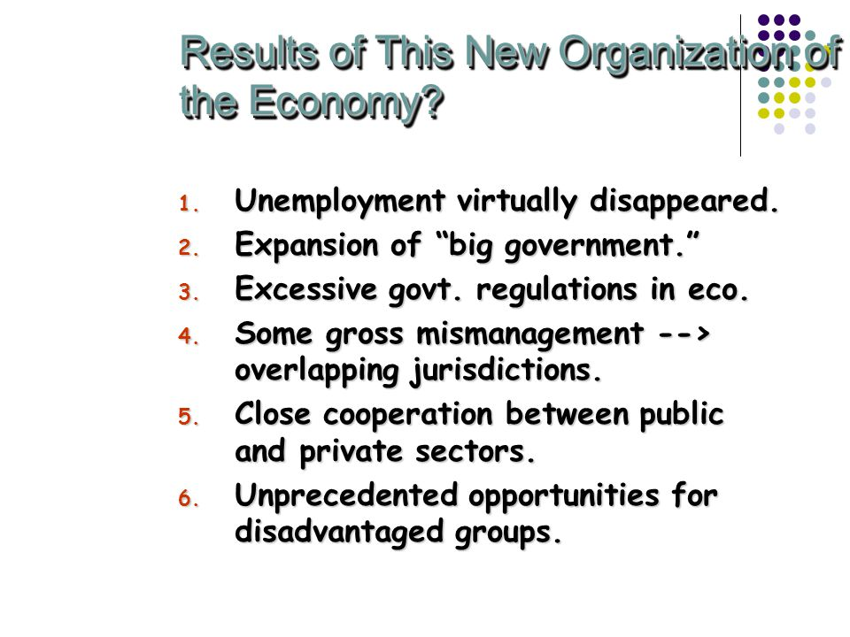 Results of This New Organization of the Economy. 1.