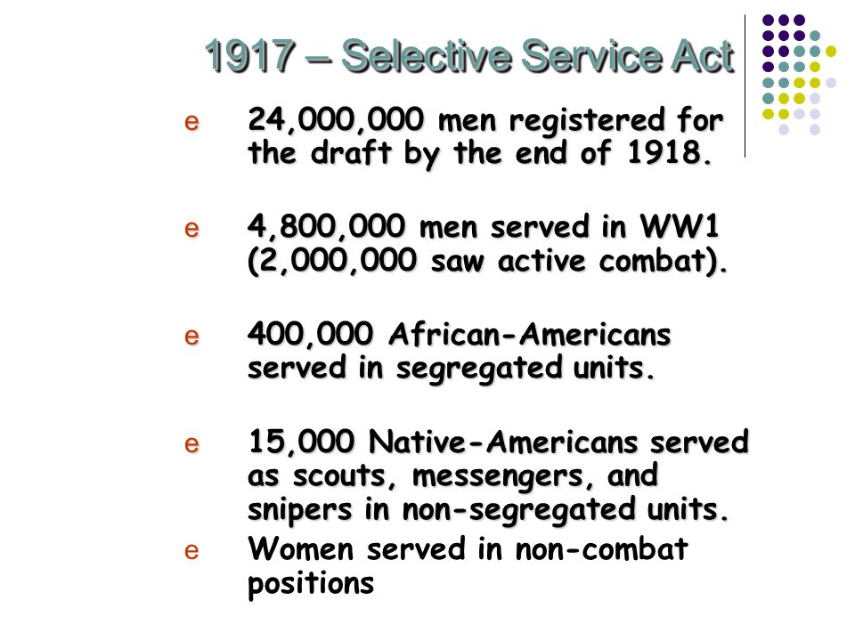1917 – Selective Service Act e 24,000,000 men registered for the draft by the end of 1918.