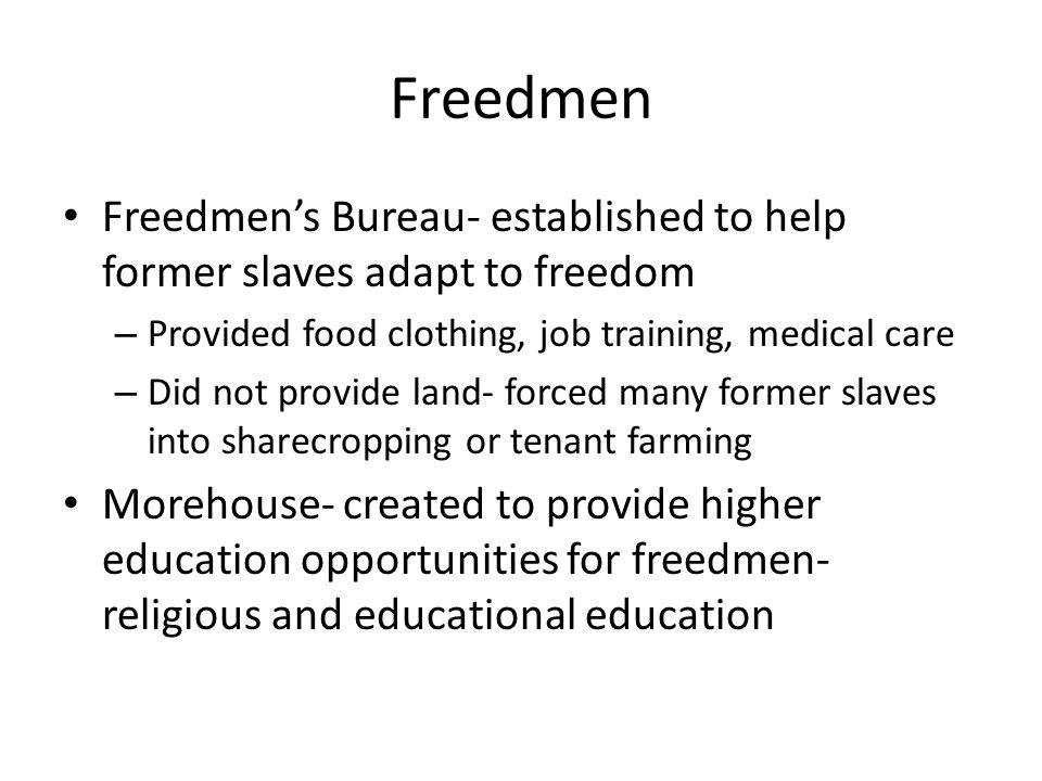 Freedmen Freedmen's Bureau- established to help former slaves adapt to freedom – Provided food clothing, job training, medical care – Did not provide