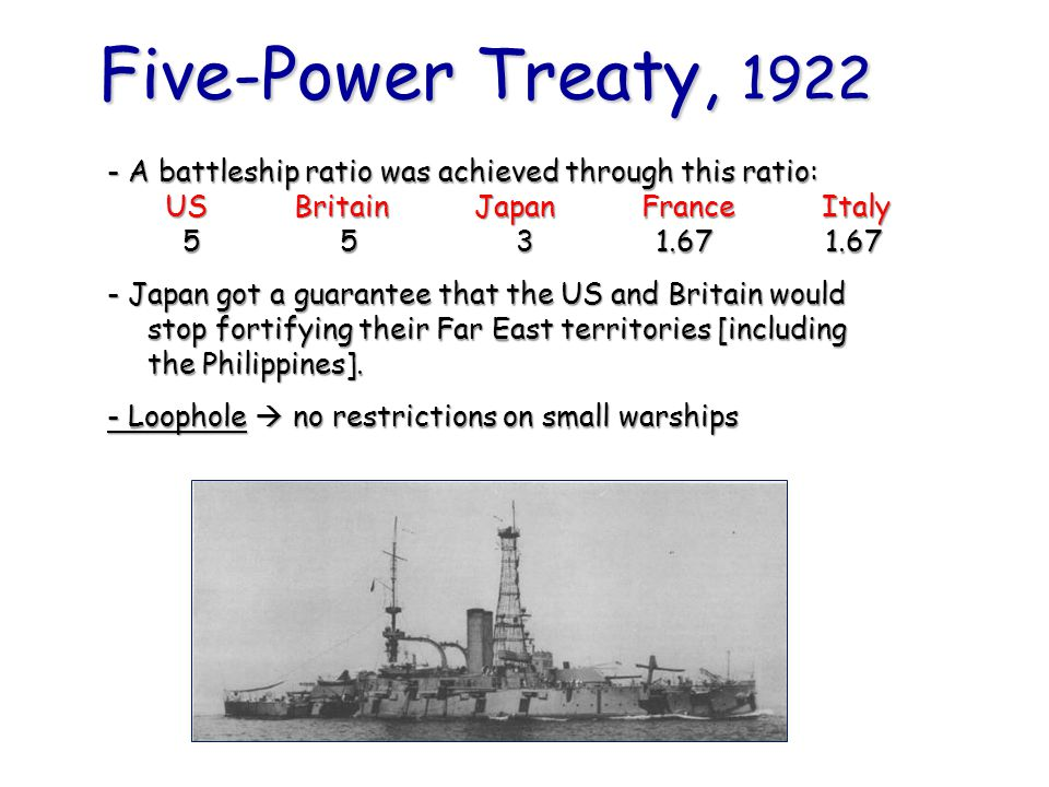 Five-Power Treaty, 1922 - A battleship ratio was achieved through this ratio: US Britain Japan France Italy 5 5 3 1.67 1.67 - Japan got a guarantee th