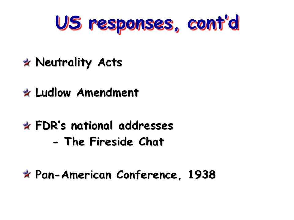 US responses, cont'd Neutrality Acts Ludlow Amendment FDR's national addresses - The Fireside Chat Pan-American Conference, 1938