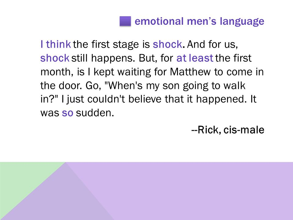 emotional men's language I think the first stage is shock.
