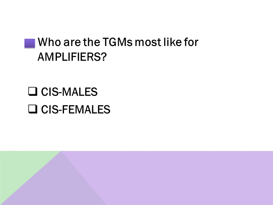 Who are the TGMs most like for AMPLIFIERS  CIS-MALES  CIS-FEMALES