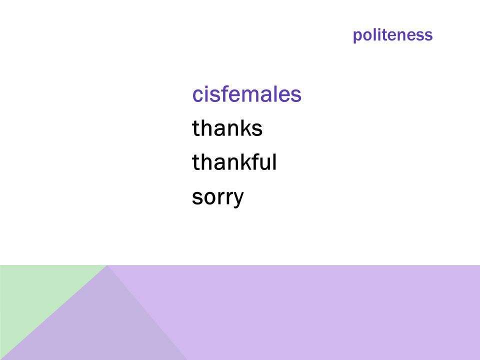 politeness cisfemales thanks thankful sorry