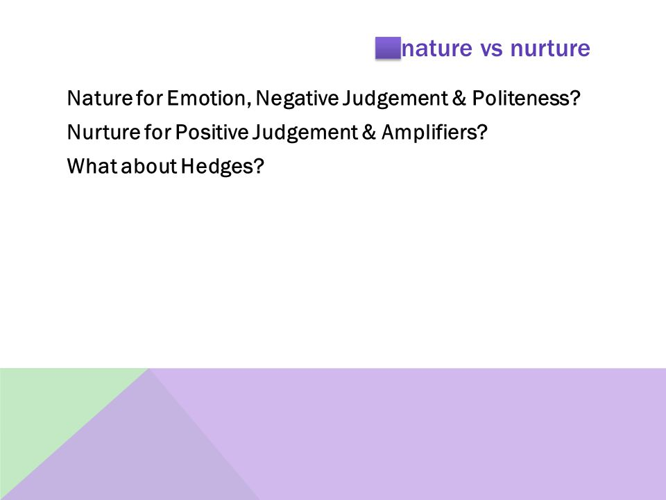 nature vs nurture Nature for Emotion, Negative Judgement & Politeness.