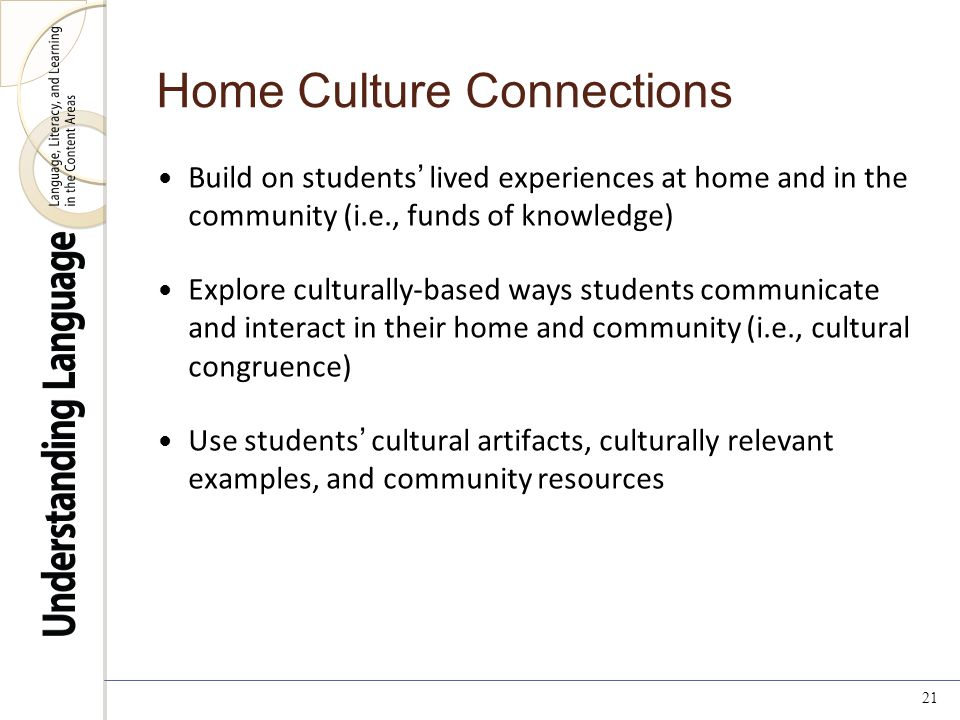 Build on students' lived experiences at home and in the community (i.e., funds of knowledge) Explore culturally-based ways students communicate and interact in their home and community (i.e., cultural congruence) Use students' cultural artifacts, culturally relevant examples, and community resources 21 Home Culture Connections