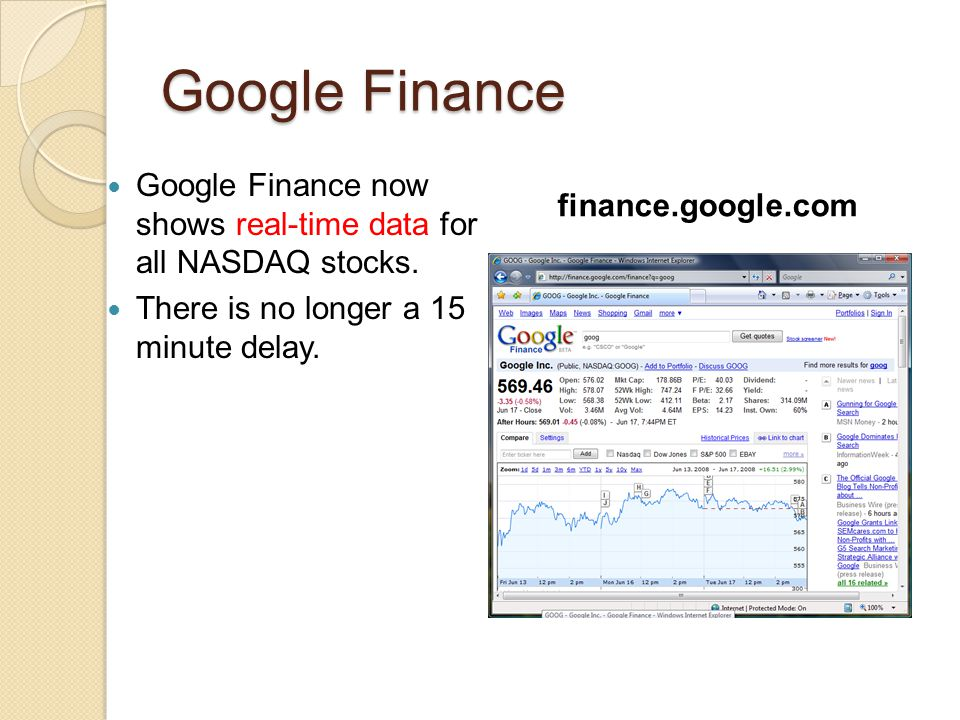Google Finance Google Finance now shows real-time data for all NASDAQ stocks. There is no longer a 15 minute delay. finance.google.com