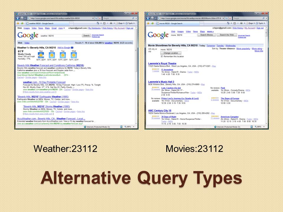 Alternative Query Types Google Weather Enter weather: and the city, state, and/or zip code Google Movie Showtimes Use movie: and the city, state, and/