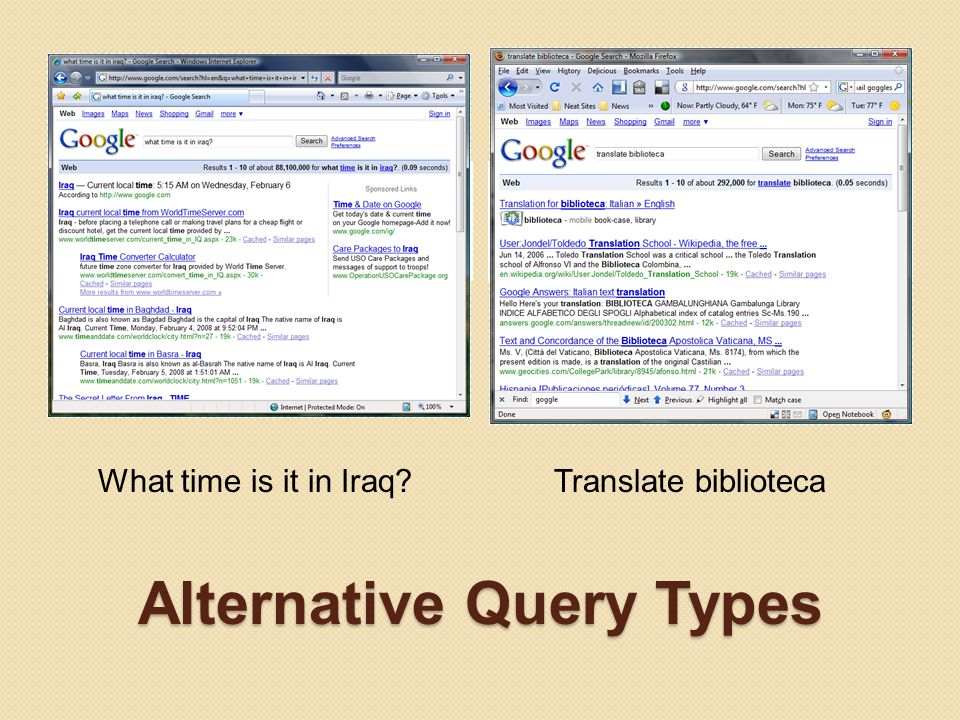 Alternative Query Types Google Time Enter what time is it in [insert location here] Google Translate Enter translate [insert word here] What time is it in Iraq?Translate biblioteca