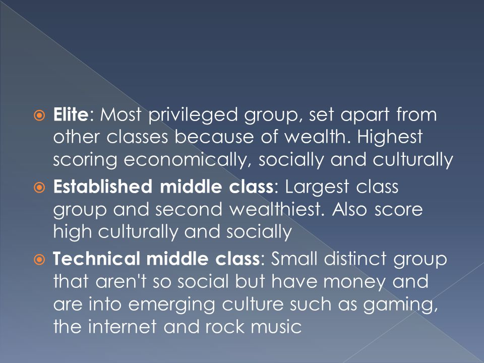  Elite : Most privileged group, set apart from other classes because of wealth.