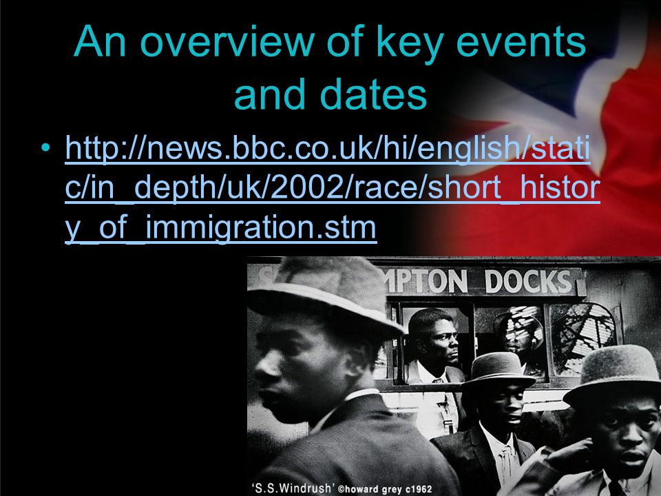 your name An overview of key events and dates http://news.bbc.co.uk/hi/english/stati c/in_depth/uk/2002/race/short_histor y_of_immigration.stmhttp://n