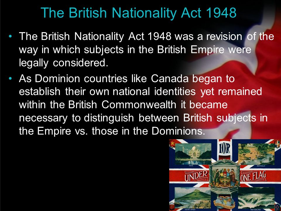 your name The British Nationality Act 1948 The British Nationality Act 1948 was a revision of the way in which subjects in the British Empire were leg