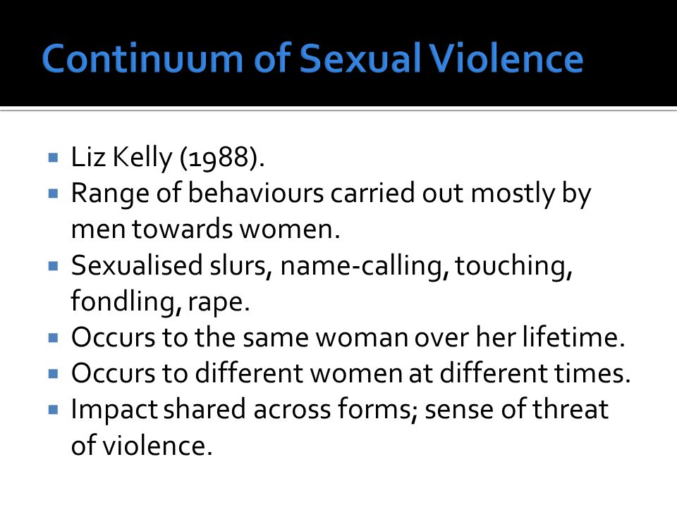 Liz Kelly (1988).  Range of behaviours carried out mostly by men towards women.