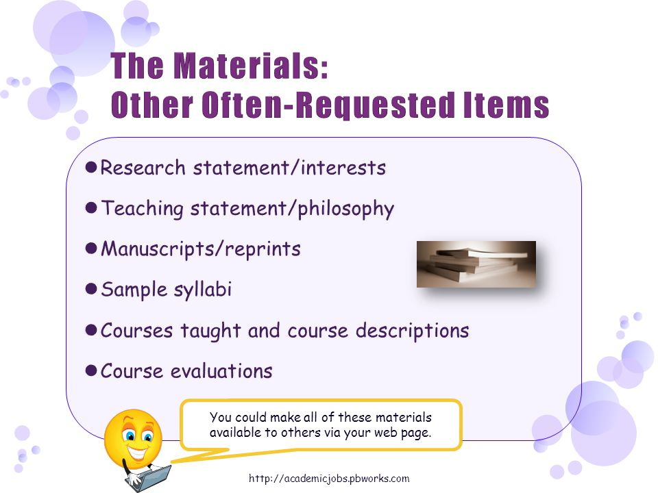 You could make all of these materials available to others via your web page.