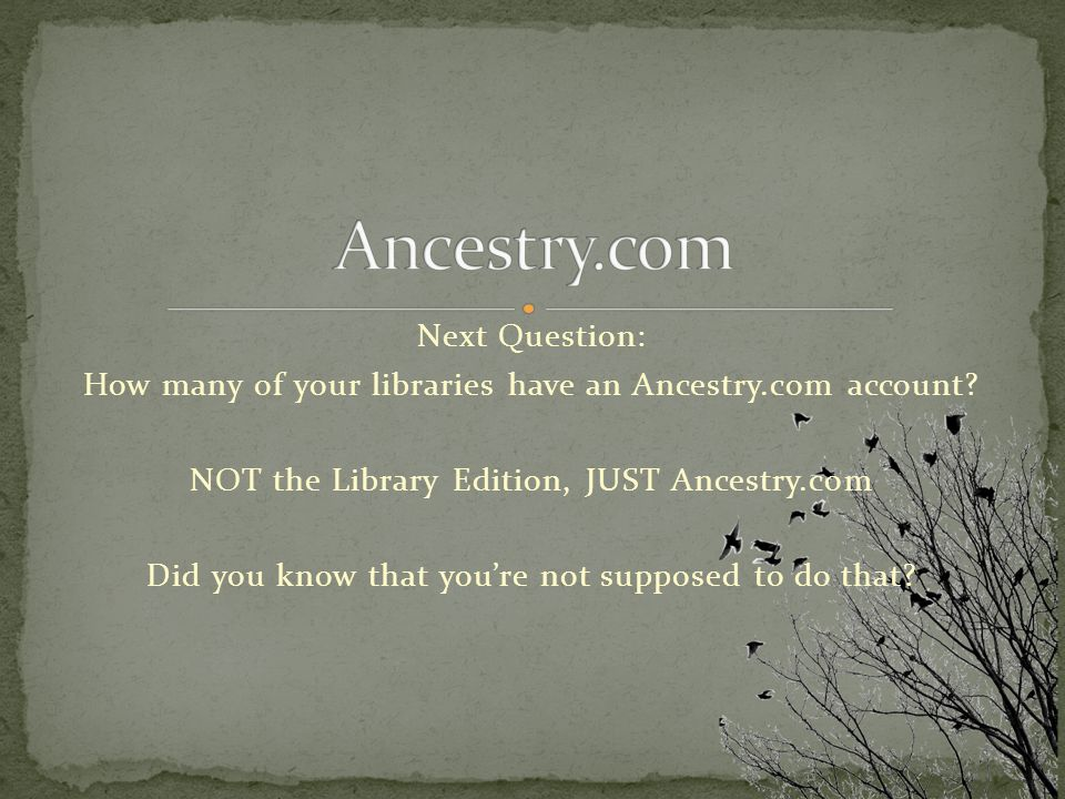 Next Question: How many of your libraries have an Ancestry.com account.