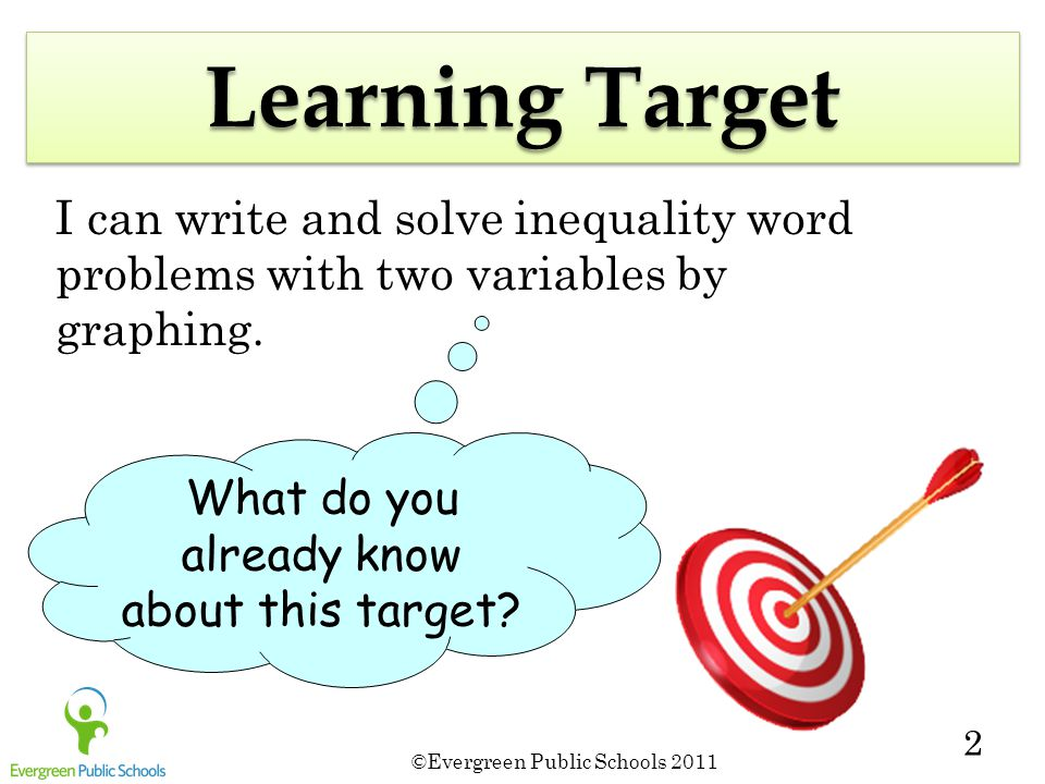 ©Evergreen Public Schools 2011 2 Learning Target I can write and solve inequality word problems with two variables by graphing.