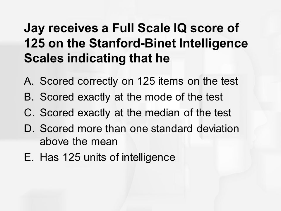 Jay receives a Full Scale IQ score of 125 on the Stanford-Binet Intelligence Scales indicating that he A.Scored correctly on 125 items on the test B.S