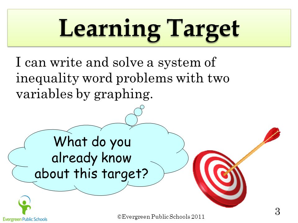 ©Evergreen Public Schools 2011 3 Learning Target I can write and solve a system of inequality word problems with two variables by graphing. What do yo