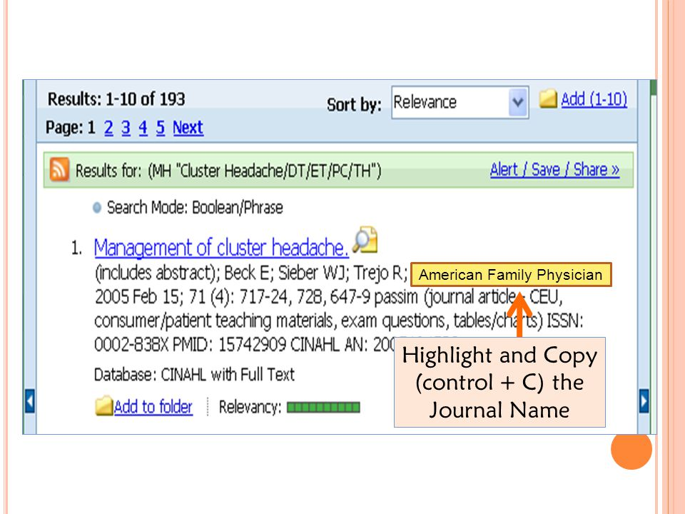 Highlight and Copy (control + C) the Journal Name American Family Physician