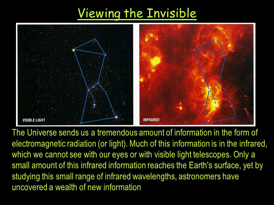 Viewing the Invisible The Universe sends us a tremendous amount of information in the form of electromagnetic radiation (or light).