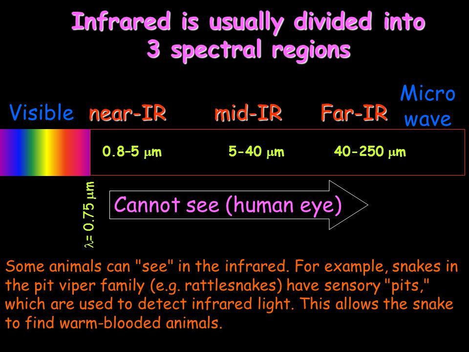 Visible Micro wave near-IRmid-IRFar-IR = 0.75  m Cannot see (human eye) Infrared is usually divided into 3 spectral regions 0.8–5  m 5-40  m 40-250  m Some animals can see in the infrared.