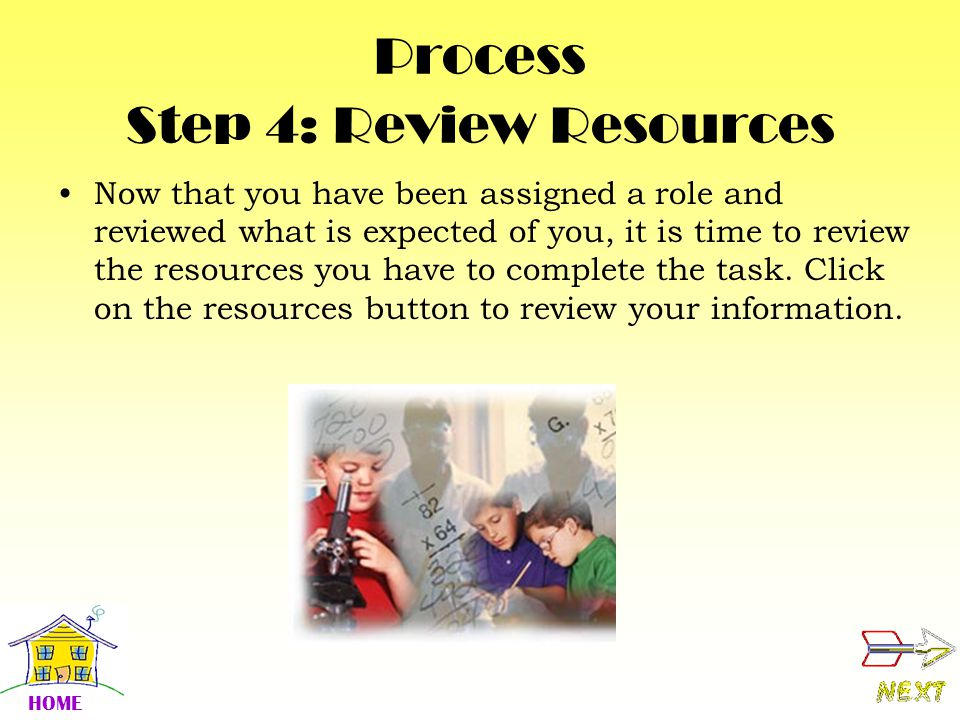 Process Step 4: Review Resources Now that you have been assigned a role and reviewed what is expected of you, it is time to review the resources you have to complete the task.