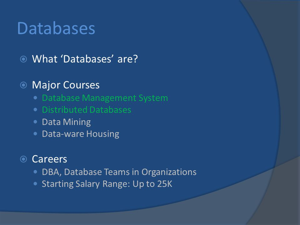 Databases  What 'Databases' are.