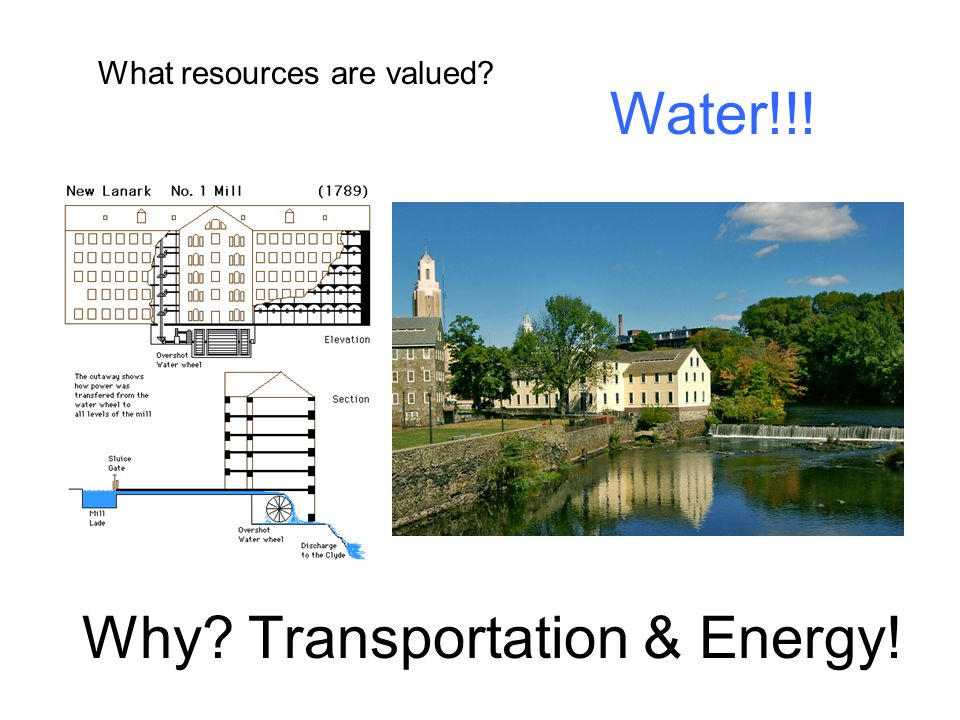 Why? Transportation & Energy! What resources are valued? Water!!!