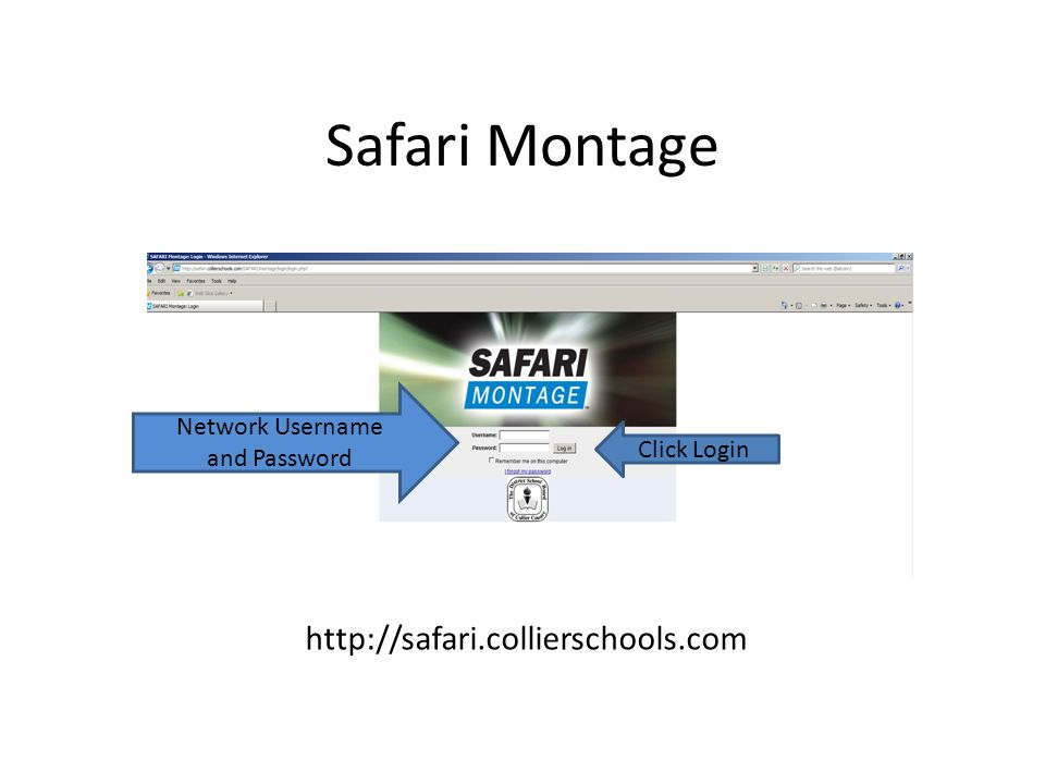 Safari Montage Using the alpha menu, locate and select your school.