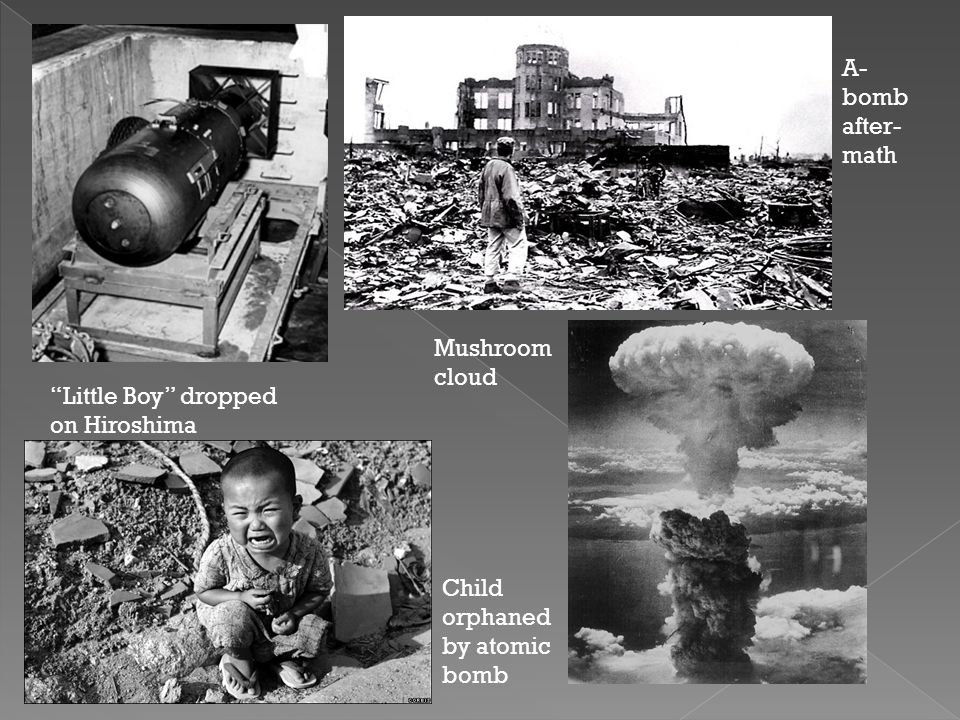 """""""Little Boy"""" dropped on Hiroshima Child orphaned by atomic bomb A- bomb after- math Mushroom cloud"""