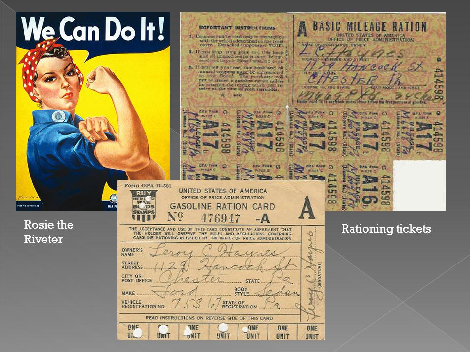 Rosie the Riveter Rationing tickets