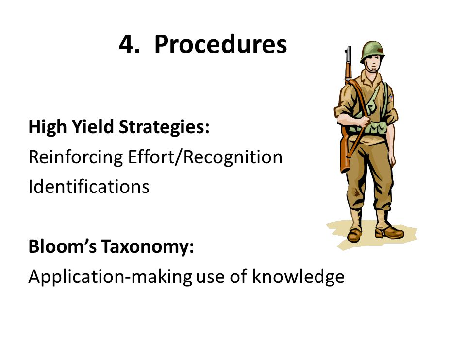 4. Procedures High Yield Strategies: Reinforcing Effort/Recognition Identifications Bloom's Taxonomy: Application-making use of knowledge