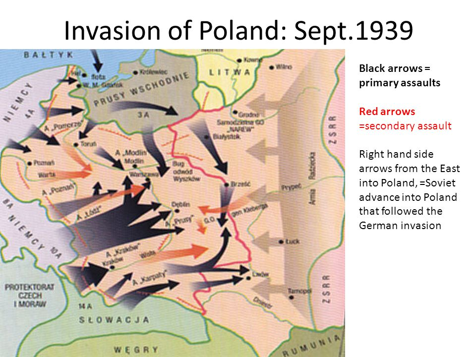 Invasion of Poland: Sept.1939 Black arrows = primary assaults Red arrows =secondary assault Right hand side arrows from the East into Poland, =Soviet
