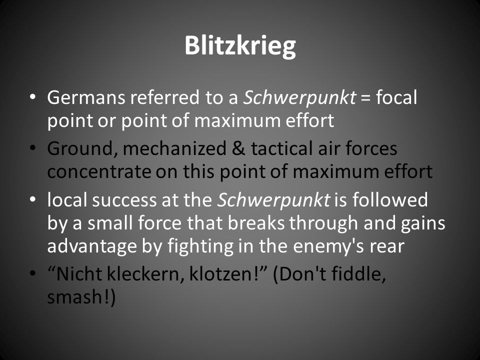Counter-Tactics: Blitzkrieg is very vulnerable to enemy emphasis on anti-tank warfare & anti-aircraft weaponry Holding the flanks or shoulders of penetration was essential to channelling the enemy attack Tank and vehicle production was a problem for Germany, ex.