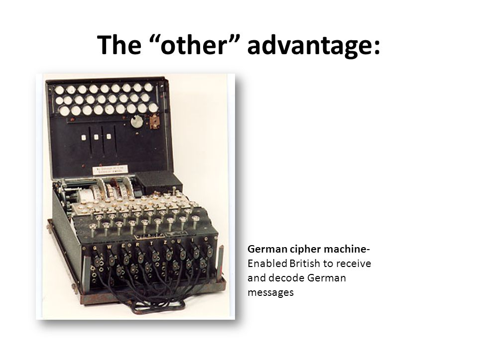 """The """"other"""" advantage: German cipher machine- Enabled British to receive and decode German messages"""