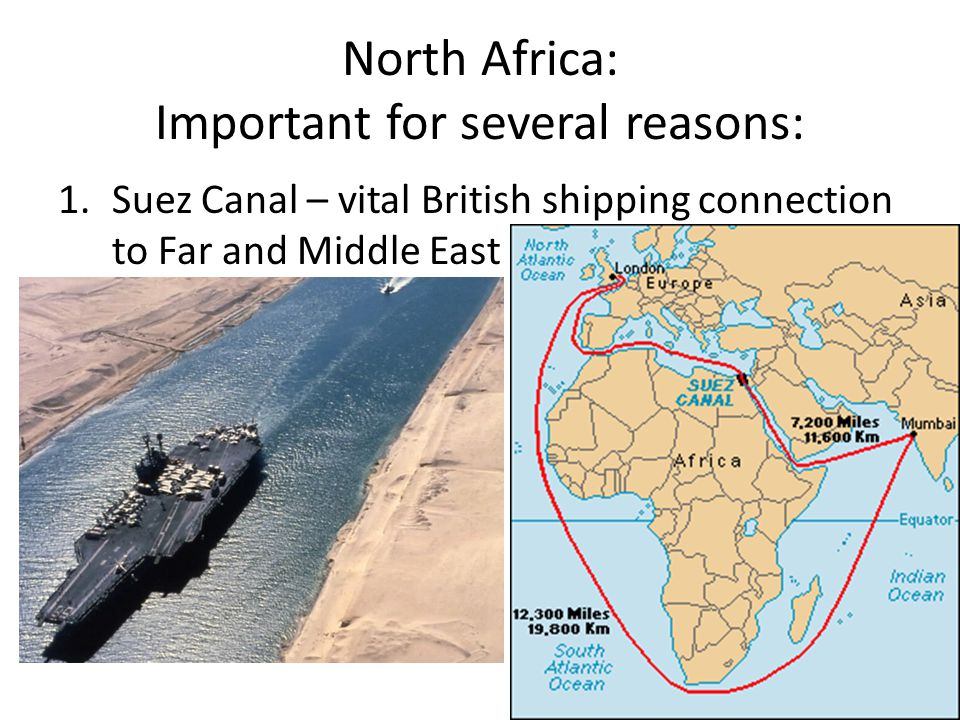 North Africa: Important for several reasons: 1.Suez Canal – vital British shipping connection to Far and Middle East