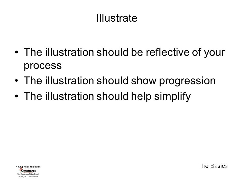 The Basics The illustration should be reflective of your process The illustration should show progression The illustration should help simplify Illustrate