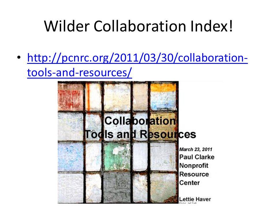 Wilder Collaboration Index.
