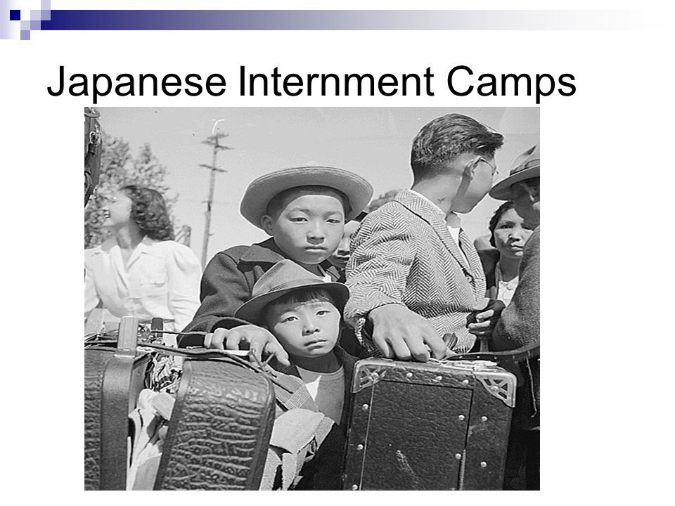 Japanese Internment Camps 1942- 1945 US government forced over 100,000 Japanese-Americans to relocate  Mostly from the western states Many lost their homes and businesses  Could only keep what they could carry Conditions in camps  Barbed-wire-surrounded  Un-partitioned toilets  Cots for beds  Armed guards