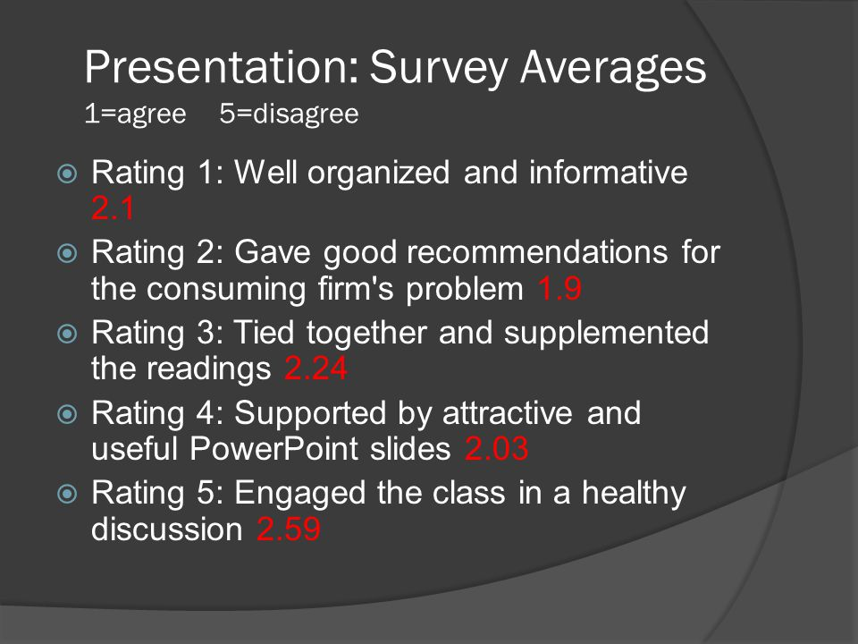 Presentation: Survey Averages 1=agree 5=disagree  Rating 1: Well organized and informative 2.1  Rating 2: Gave good recommendations for the consumin