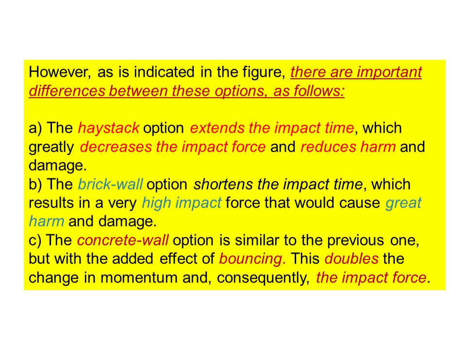 However, as is indicated in the figure, there are important differences between these options, as follows: a) The haystack option extends the impact time, which greatly decreases the impact force and reduces harm and damage.