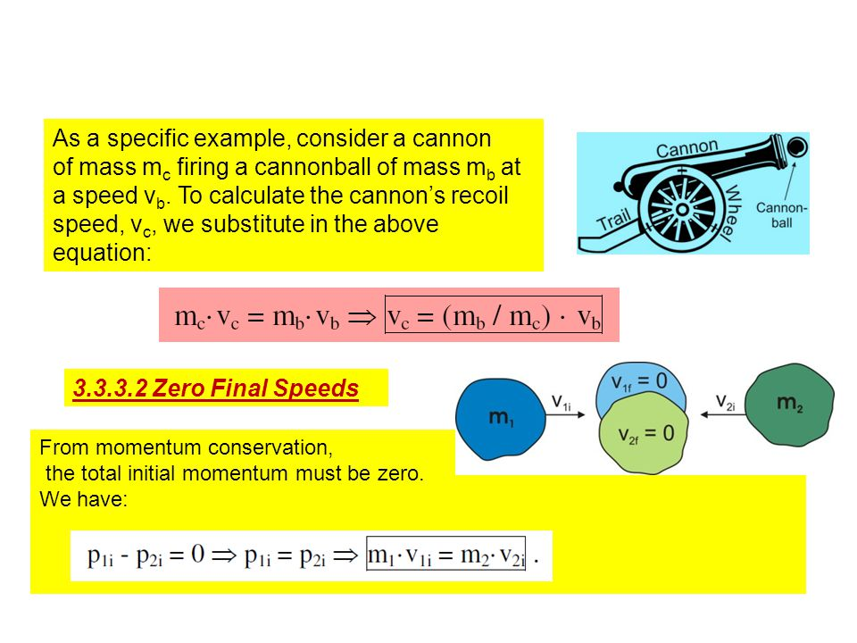 As a specific example, consider a cannon of mass m c firing a cannonball of mass m b at a speed v b.