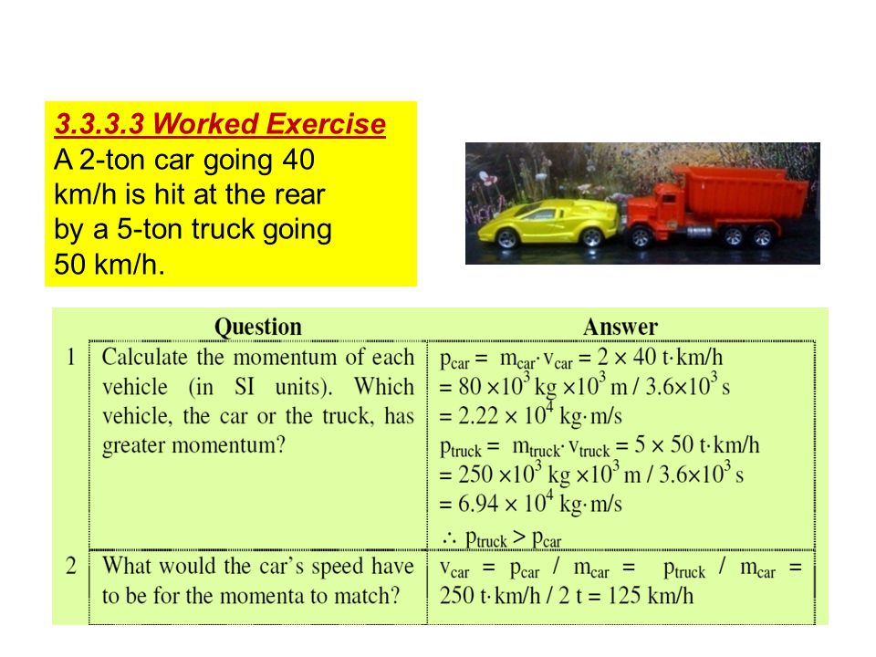 3.3.3.3 Worked Exercise A 2-ton car going 40 km/h is hit at the rear by a 5-ton truck going 50 km/h.
