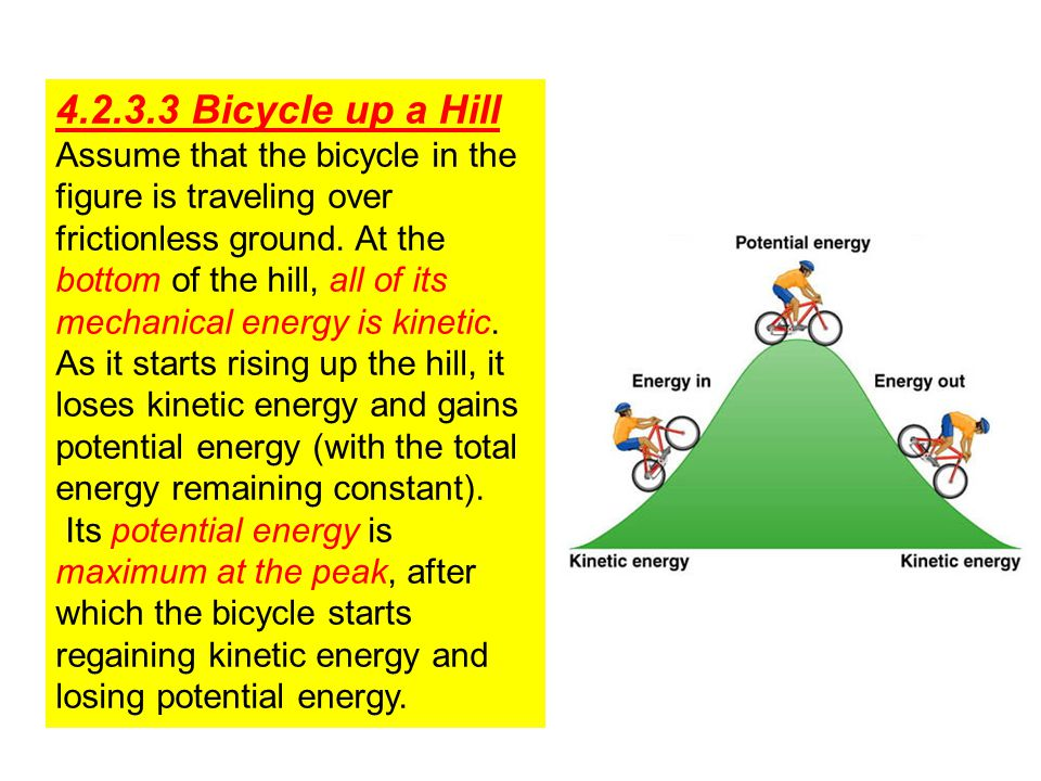 4.2.3.3 Bicycle up a Hill Assume that the bicycle in the figure is traveling over frictionless ground.